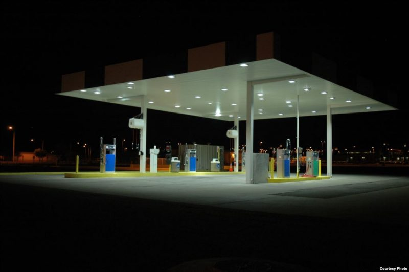 Example of the cold colour temperature of petrol station LED lighting, typically 5000-6000K.