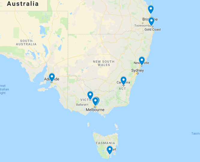 Best tiny house building workshops in Australia Map