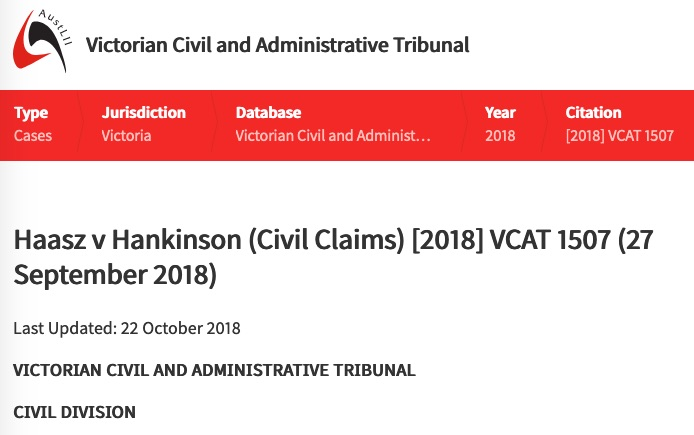 Consumer Law to the Rescue for this Tiny House Buyer in Haasz v Hankinson (Civil Claims) [2018] VCAT 1507 (27 September 2018)
