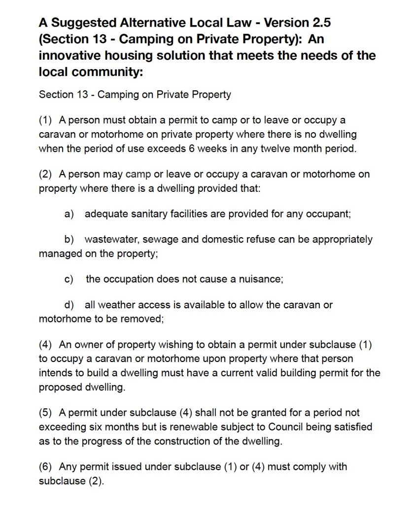 A Suggested Alternative Local Law - Version 2.5 (Section 13 - Camping on Private Property): An innovative housing solution that meets the needs of the