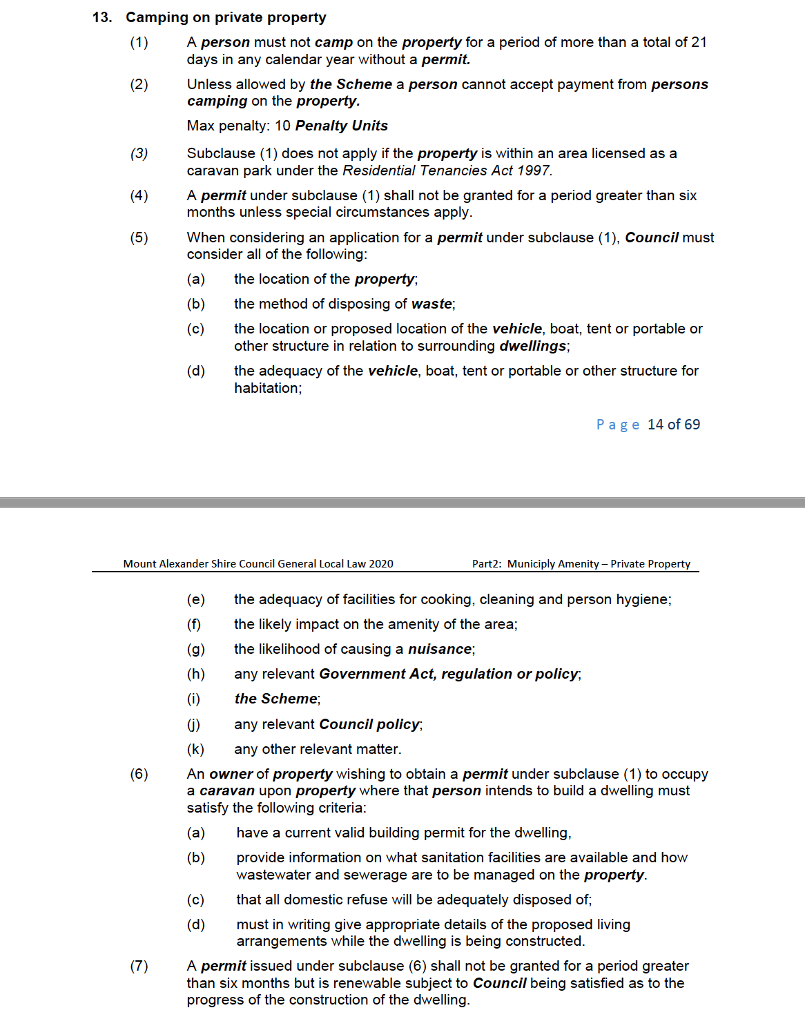DRAFT Proposed Local Law Section 13 - Camping on Private Property - Mt Alexander Shire Council (2020)